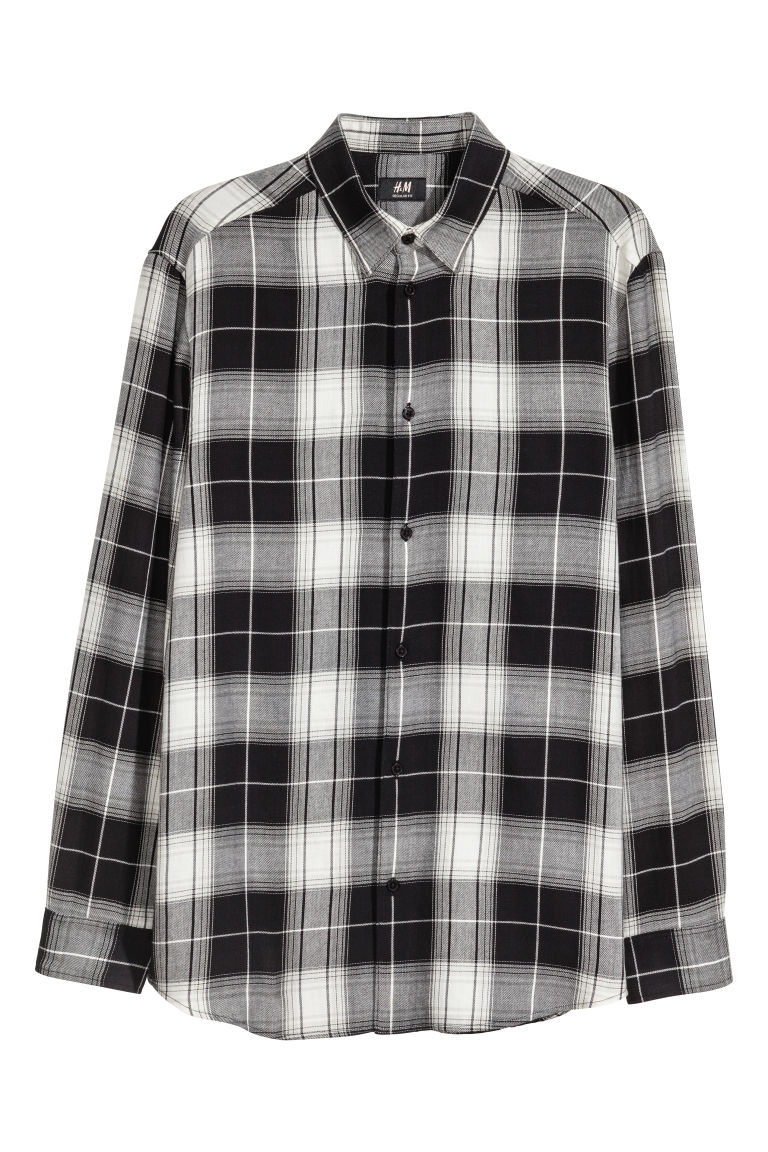 3093773b2c2cc2 Flannel Shirt Regular fit - Black/white checked - Men | H&M US