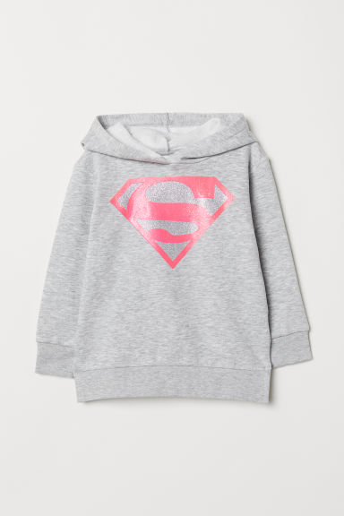 Hooded top with motifs - Grey marl/Superman - Kids | H&M CN