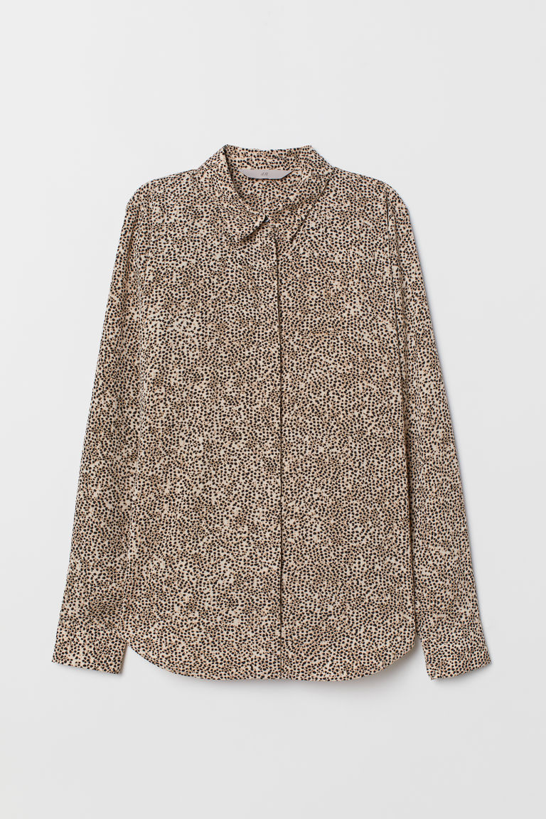 Long-sleeved Blouse - Light beige/leopard print - Ladies | H&M US