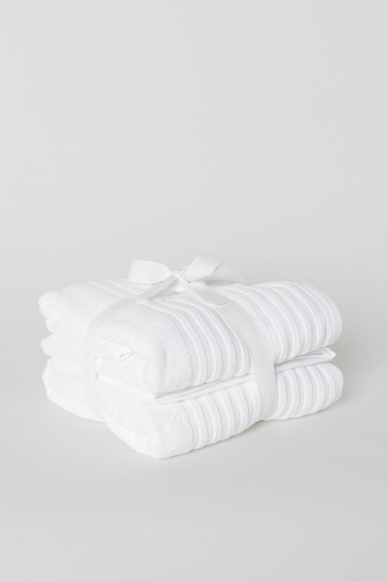 2-pack bath towels - White - Home All | H&M CN