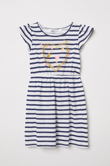 Flounce-sleeved jersey dress - White/Striped - Kids | H&M CN