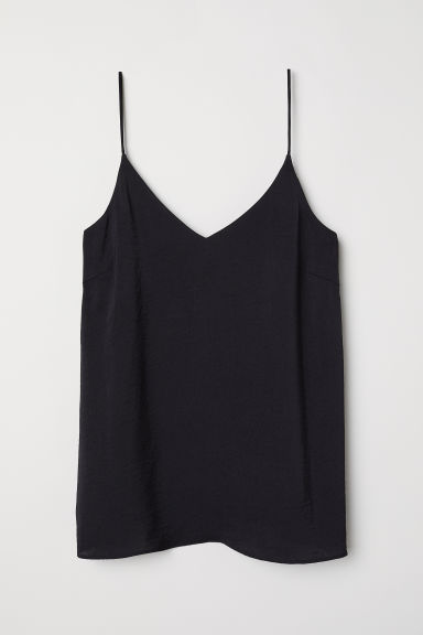 V-neck satin top - Black - Ladies | H&M