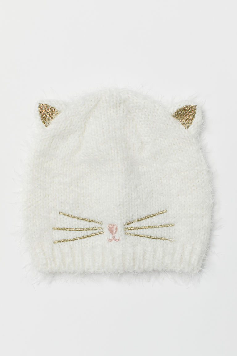Hat with cat ears - White/Cat - Kids | H&M CN