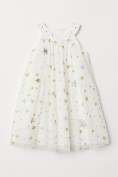 Tulle dress - Natural white/Stars - Kids | H&M