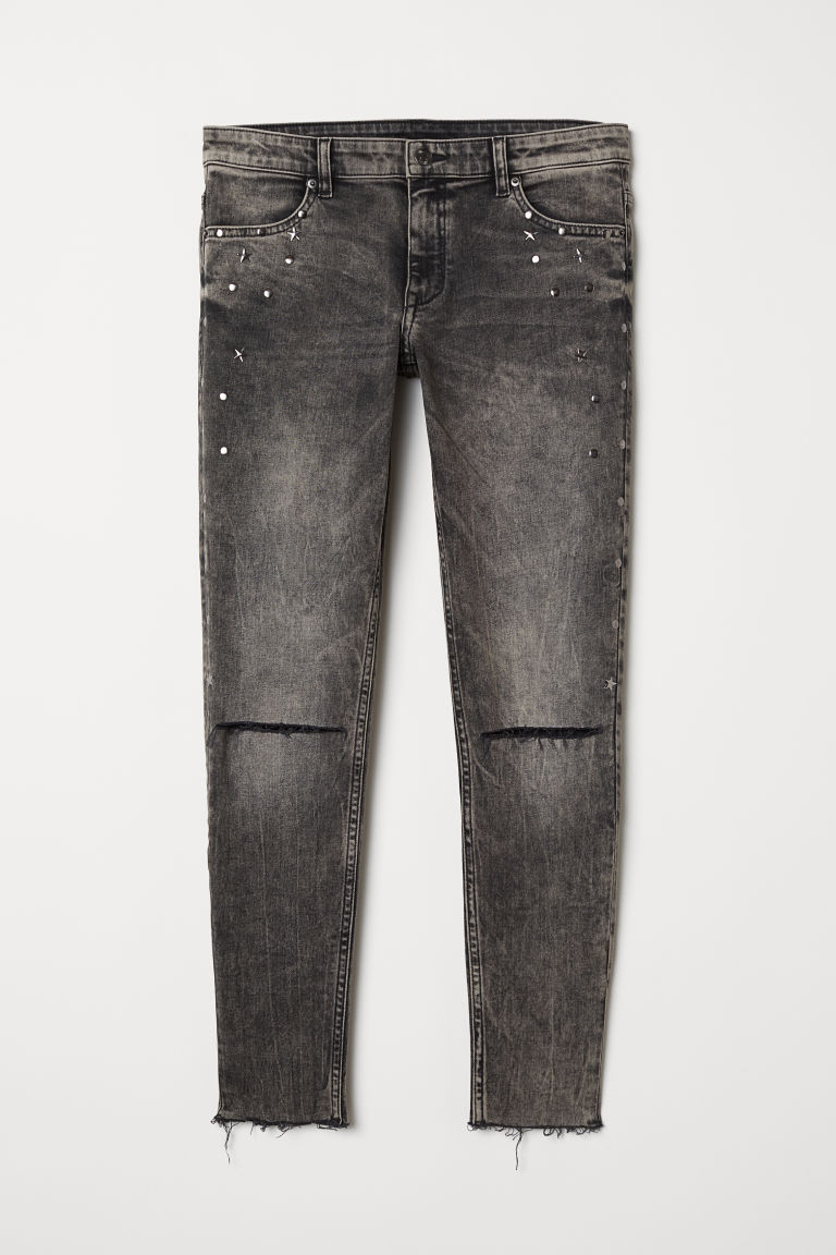 Super Skinny Low Ankle Jeans - Cinzento escuro washed out - SENHORA | H&M PT