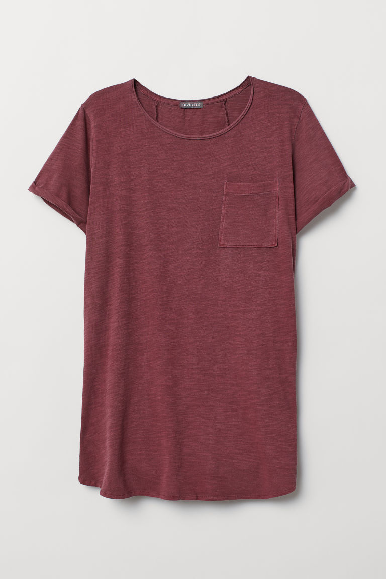 T-shirt lunga - Bordeaux mélange - UOMO | H&M IT