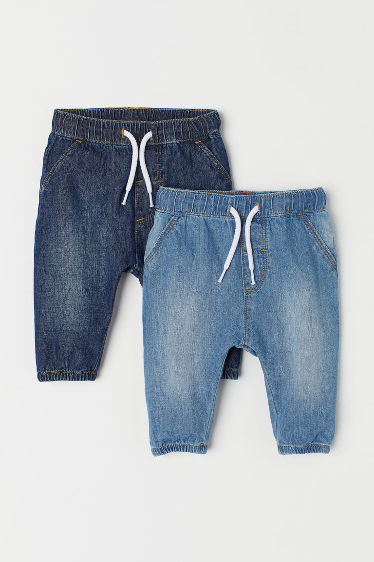 2-pack denim joggers - Denim blue - Kids | H&M
