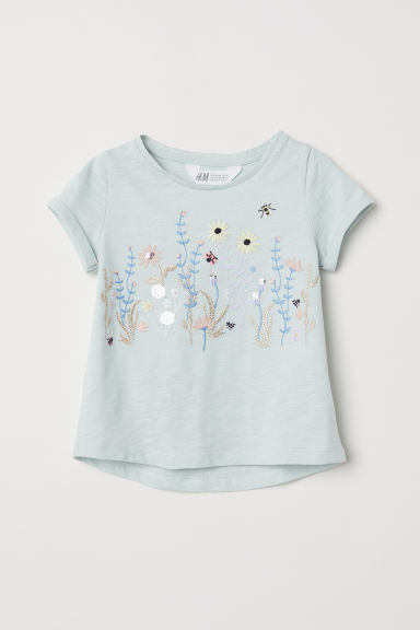 Jersey top with appliqués - Dusky green/Flowers -  | H&M