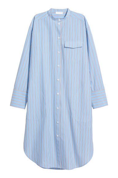 Pima cotton shirt dress - Light blue/Striped - Ladies | H&M