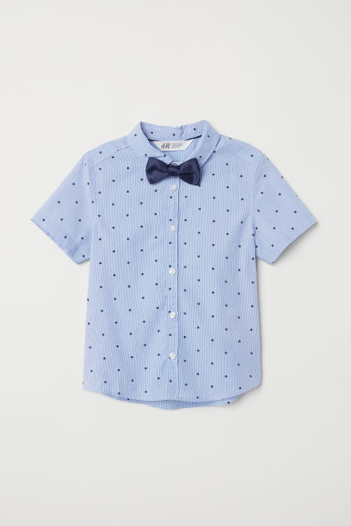 Shirt with a tie/bow tie - Blue striped/Bow tie -  | H&M