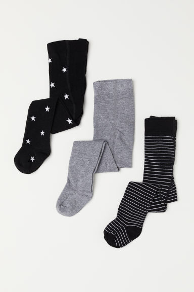 3-pack tights - Black/Stars - Kids | H&M CN