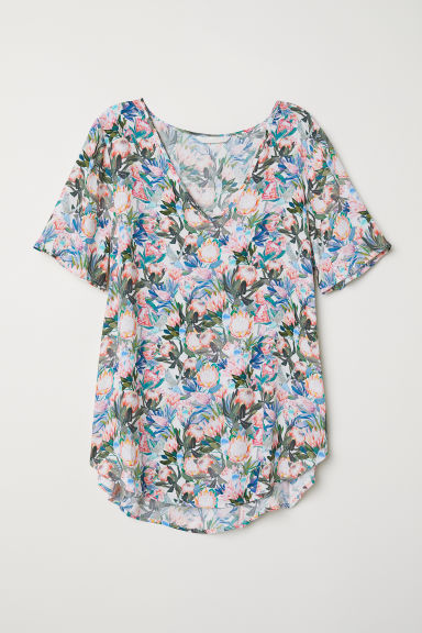 Short-sleeved viscose blouse - White/Floral - Ladies | H&M
