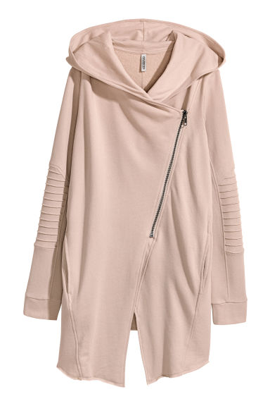 Hooded sweatshirt cardigan - Powder - Ladies | H&M