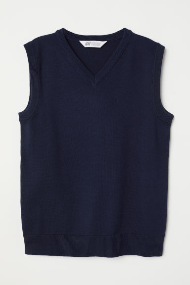 Fine-knit slipover - Dark blue - Kids | H&M