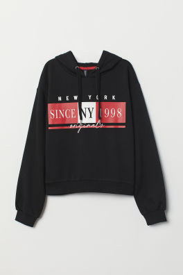 d3a58ec9 Hooded top. PHP 1,190. Black/NY Since 1998 · Sweatshirt with lacingModel