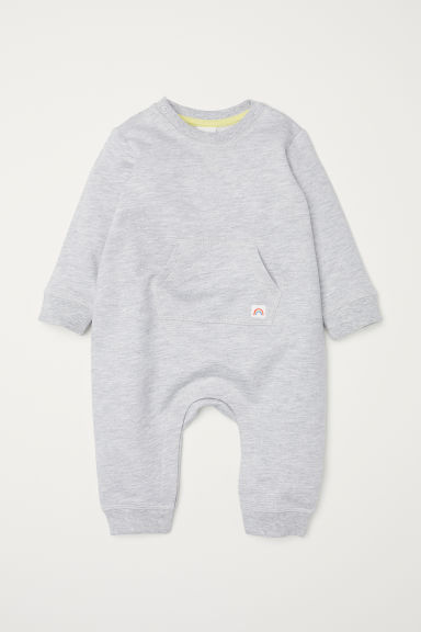 Printed sweatshirt romper suit - Light grey marl/Rainbow - Kids | H&M