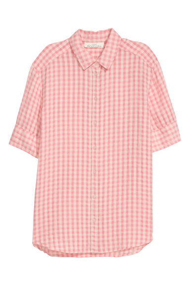Textured-weave shirt - Light pink/Checked -  | H&M CN