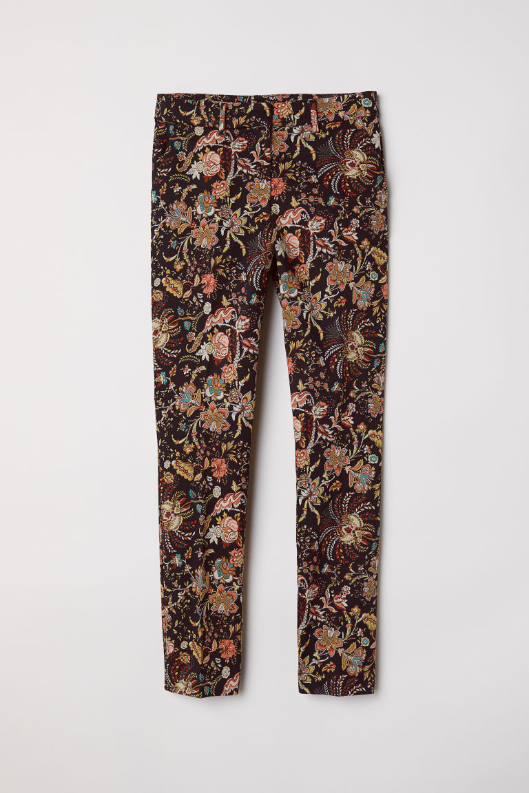 Cigarette trousers - Black/Patterned - Ladies | H&M