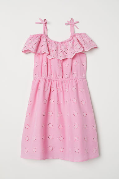 Dress with broderie anglaise - Pink - Kids | H&M CN
