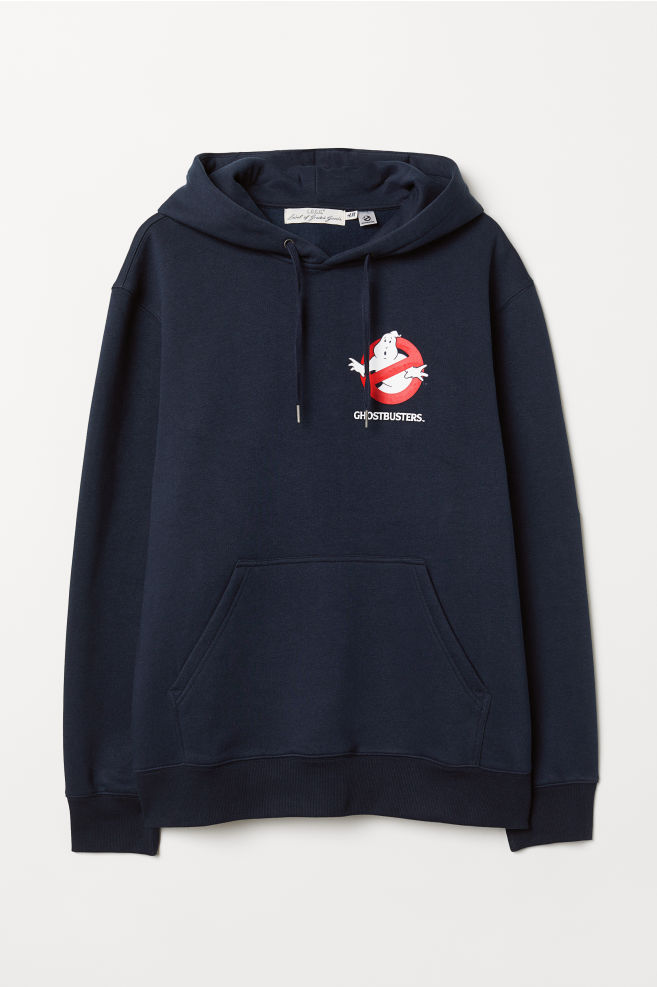 f05b929d0 Hooded Sweatshirt with Motif - Dark blue/Ghostbusters - Men | H&M ...