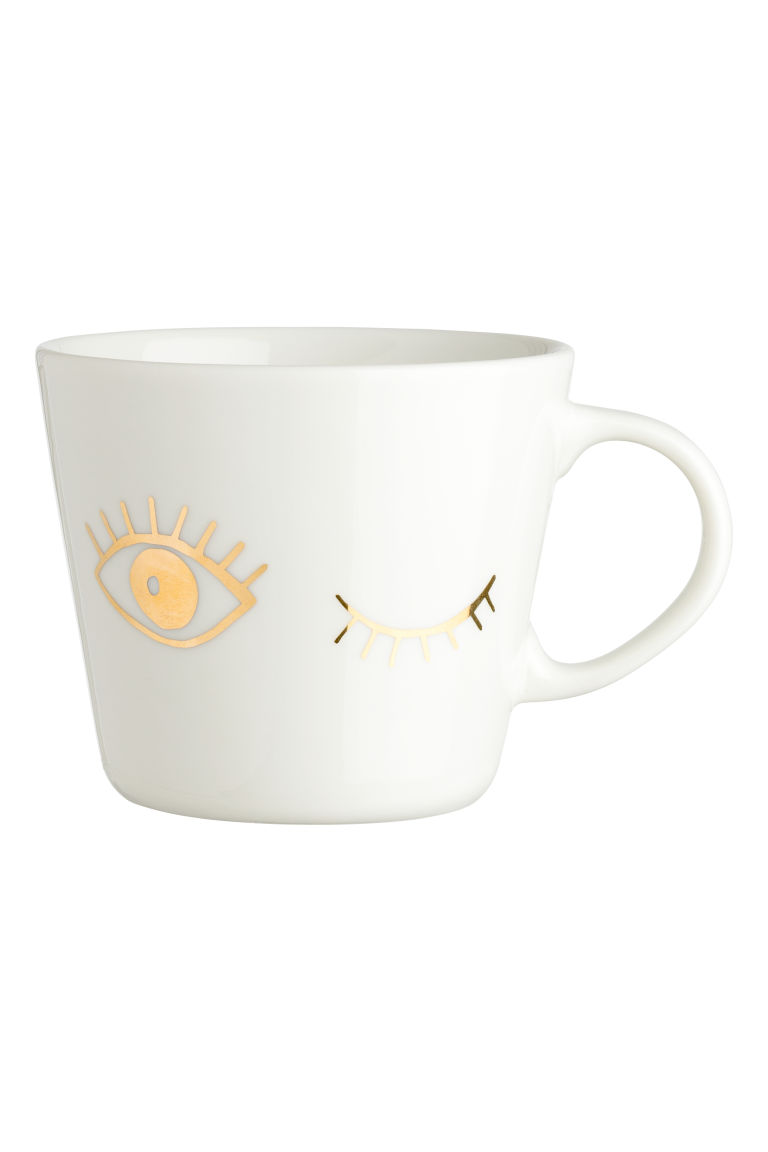 Porcelain mug with a motif - Gold-coloured - Home All | H&M IE