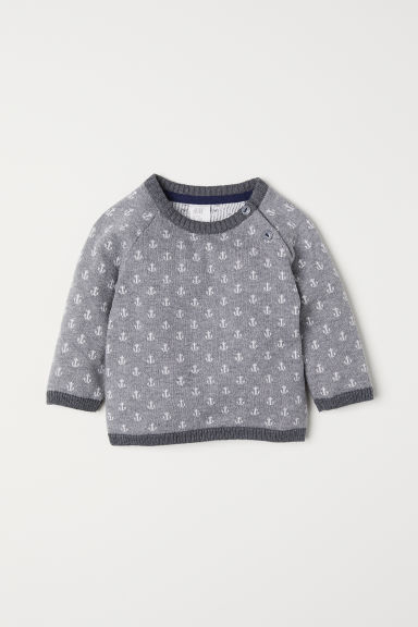 Fine-knit cotton jumper - Grey/Anchors - Kids | H&M CN