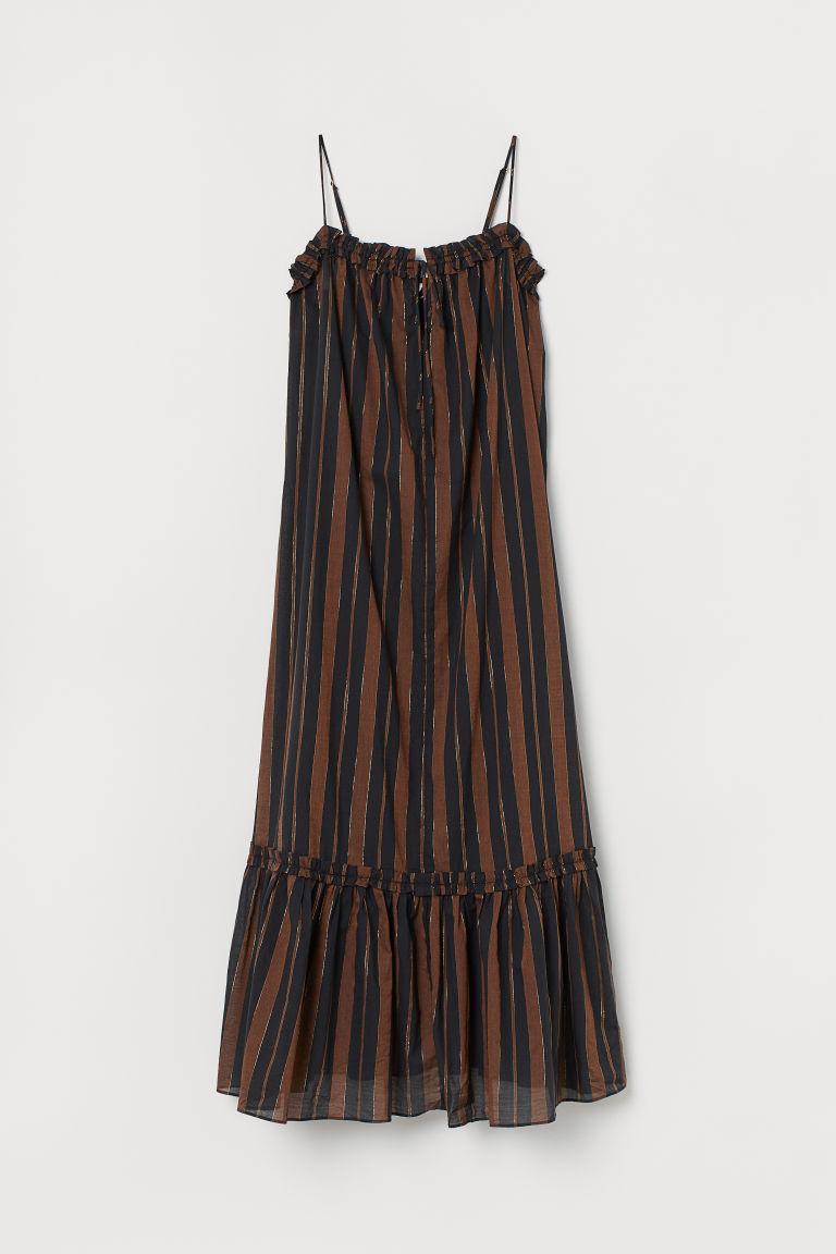Bawełniana sukienka z falbaną - Brązowy/Czarne paski - ONA | H&M PL 3