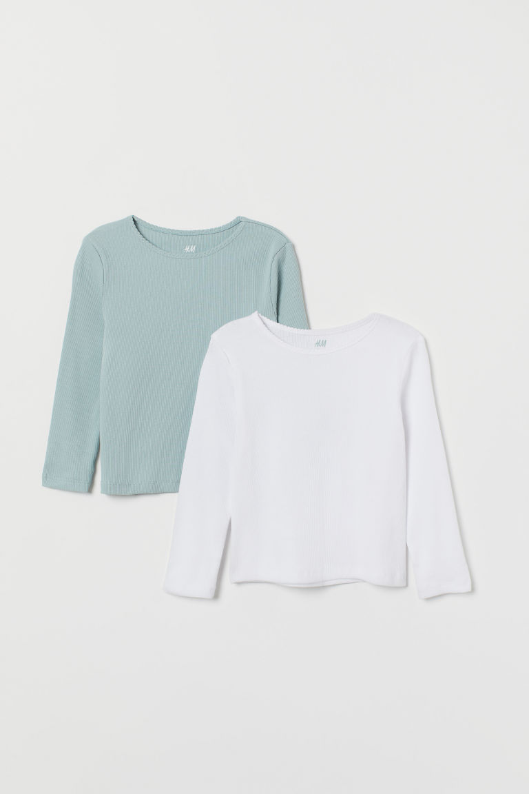 2-pack ribbed jersey tops - Light turquoise/White - Kids | H&M