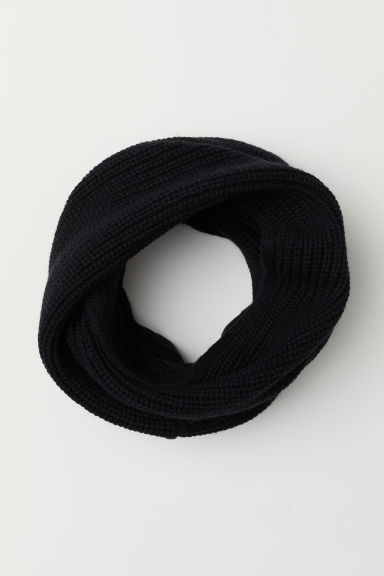 Ribbed tube scarf - Black -  | H&M