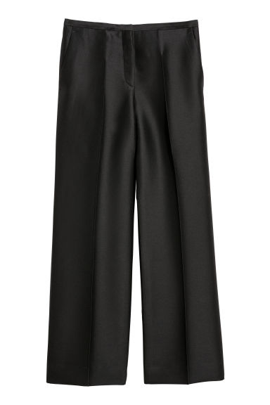 Silk-blend suit trousers - Black -  | H&M