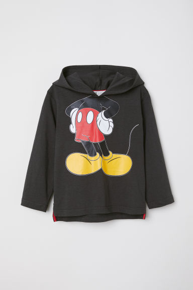 Jersey hooded top - Dark grey/Mickey Mouse - Kids | H&M