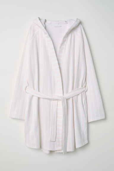 Terry dressing gown - White/Pink striped - Ladies | H&M CN