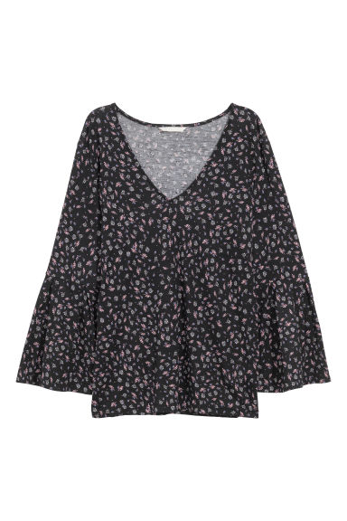 Patterned top - Black/Patterned - Ladies | H&M