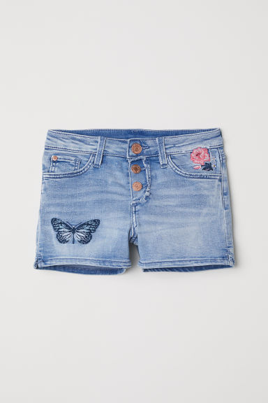 Embroidered denim shorts - Light denim blue - Kids | H&M CN