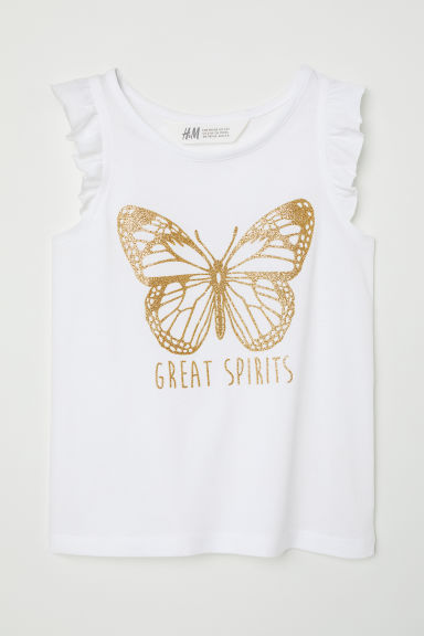Printed jersey top - White/Butterfly -  | H&M