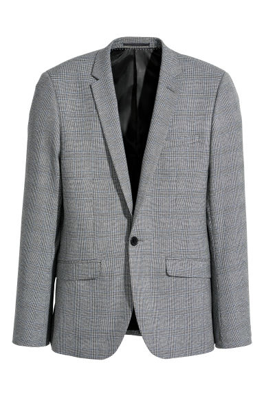 Checked jacket Skinny fit - Grey/Blue checked -  | H&M CN