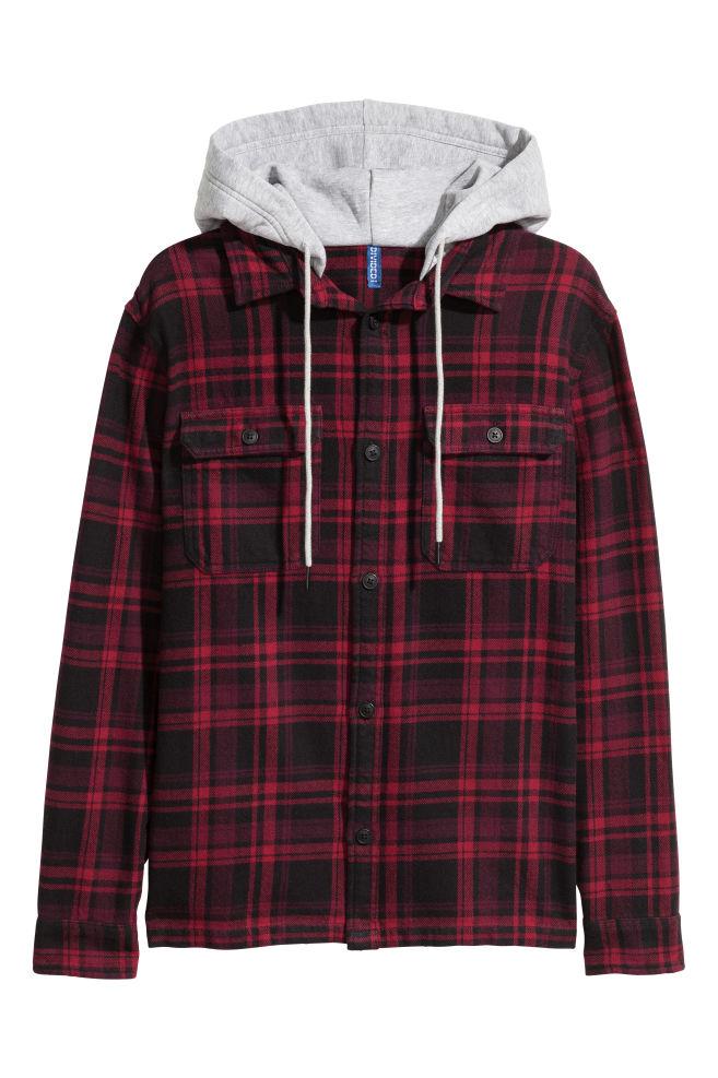 d38196a0b Hooded flannel shirt - Dark red Black checked - Men