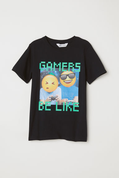 Printed T-shirt - Black/Gamers - Kids | H&M