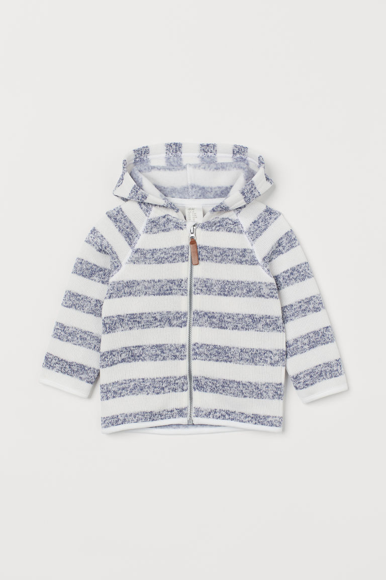 Knitted fleece jacket - Blue/Striped - Kids | H&M