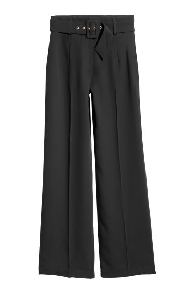 Wide trousers with a belt - Black -  | H&M