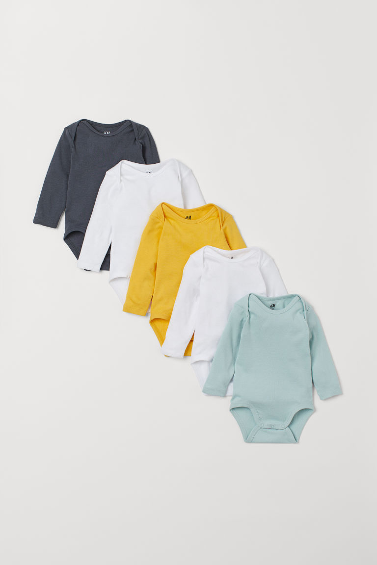 5-pack bodysuits - Yellow/Dark grey - Kids | H&M IE
