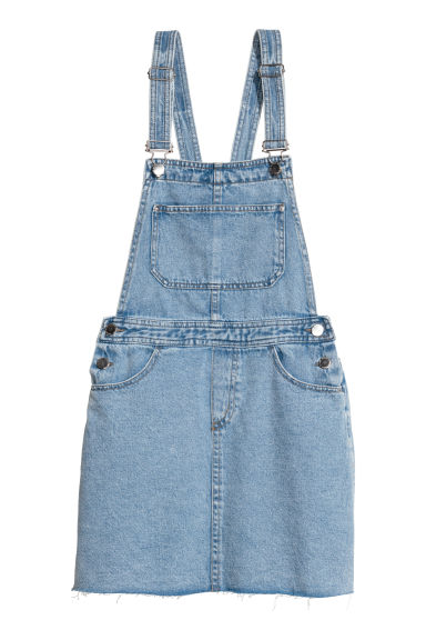 Denim dungaree dress - Light denim blue - Ladies | H&M