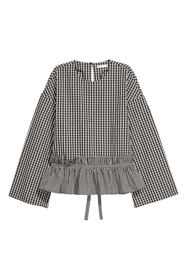Flounced cotton blouse - Black/Checked - Ladies | H&M