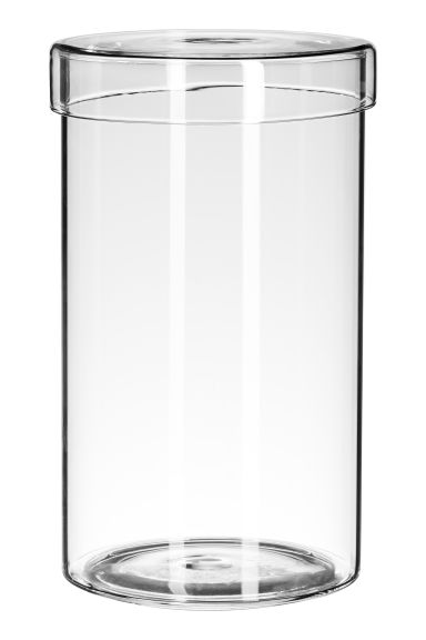 Tall glass pot with a lid - Clear glass - Home All | H&M IE