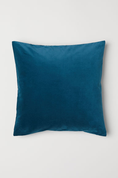 Cotton velvet cushion cover - Dark turquoise - Home All | H&M CN