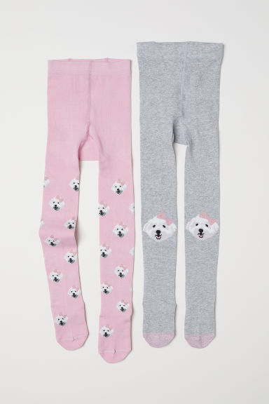 2-pack fine-knit tights - Light pink/Dogs - Kids | H&M CN