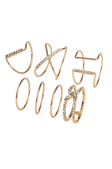 7-pack rings - Gold-coloured - Ladies | H&M CN