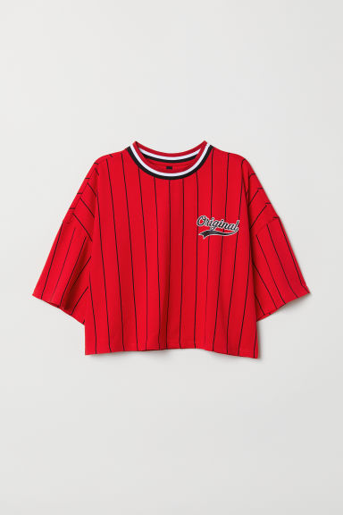 Wide T-shirt - Red/Striped - Ladies | H&M CN