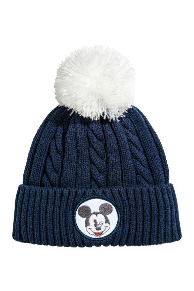 Gebreide muts - Donkerblauw/Mickey Mouse - KINDEREN | H&M BE