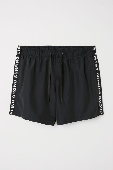 Swim shorts with side stripes - Black -  | H&M